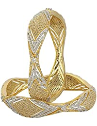 MUCH MORE Gold Tone Swarovski Elements Bangel For Women's Party Wear Jewellery