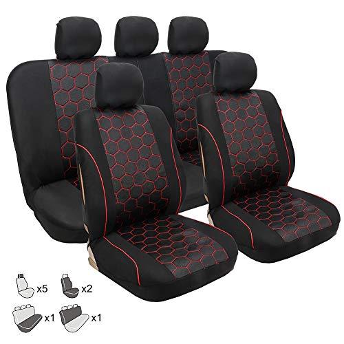 Autositzbezüge, GM Sitzbezug vier Jahreszeiten rot Fußballmuster Sitzbezug Schutz Sitzzubehör 9 Sätze