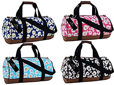 Canvas Travel Holdall Duffel Weekend Overnight Daisy Floral Print Bag QL6151M