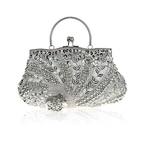 Damen Abendtasche Perle oter® Handgemachte Für Party Collection Clutch Hochzeit Damen Silber Handtasche H K Zwf10qCC