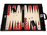 Wycliffe Brothers Backgammon-Turnierset – Schwarzes Kroko mit cremefarbener Spielfläche (schwarze Points) – Gen III