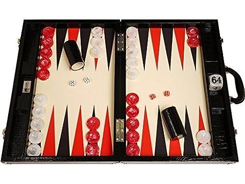 """Backgammon compétition Wycliffe Brothers 3e génération - croco noir, surface de jeu crème (flèches noires) - 21"""" coffret backgammon"""