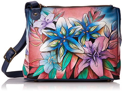 Anuschka handbemalte Ledertasche, Schultertasche für Damen, Geschenk für Frauen, Handgefertigte Tasche mit Fach- Multi Compartment Leather Tote with adjustable strap (Luscious Lilies Denim 525 LLY-D) (Tote Side Pocket)