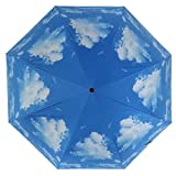 HCFKJ  Umbrella, UV-Sonnenschutz Sonnenschirme Regenschirm Blue Sky 3 Falten (BU)