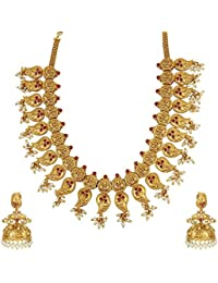 MUCH MORE Traditional Gold Plated Long Polki Set With Pearl Drop Necklace Jewellery