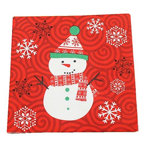 Laat servilletas de papel de doble capa con motivos navideños. Decoración de Navidad 33x33cm