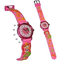 3-D Kinderuhr Nixe Meerjungfrau - Uhr Kinder Armbanduhr Silikon - bunt Schule Analog Fische Lernuhr