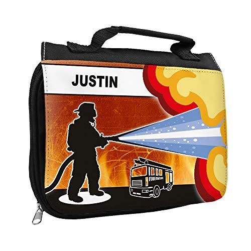 Kulturbeutel mit Namen Justin und Feuerwehr-Motiv für Jungen | Kulturtasche mit Vornamen | Waschtasche für Kinder