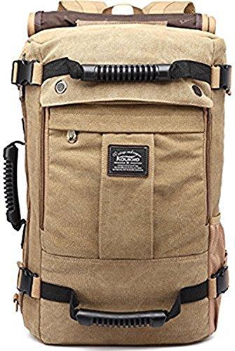 Vintage Rucksäcke, KAUKKO Herren Military Canvas Rucksack Stylish Daypack Fit zu 14 Zoll Laptop Tasche für Camping Wandern mit Großer Kapazität (Army Green) Apricot02