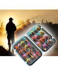 Forfar 32pcs poissons Mouche faux insectes Crochets en acier inoxydable appâts artificiels Simulation Mouches Outil de pêche