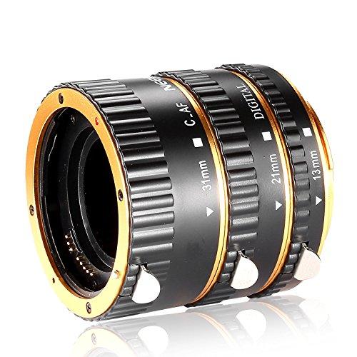Galleria fotografica Neewer Set 3pz Tubo d'Estensione AutoFocus Macro in Metallo 13mm 21mm 31mm per Obiettivi Canon EOS EF EF-S, come Canon 7D Mark II, 5D Mark II III IV, 1300D, 1200D, 750D, 700D, 600D, 80D, 70D, 60D (Dorato)