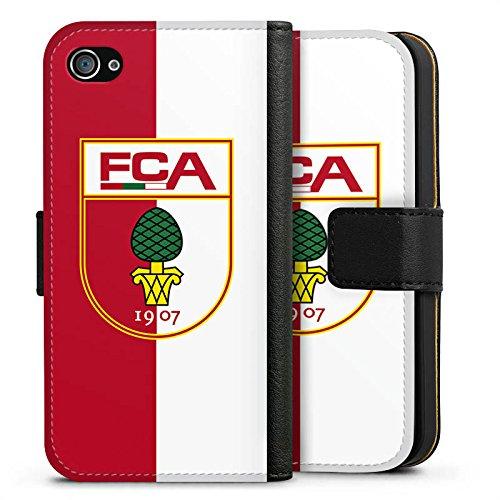 Apple iPhone X Silikon Hülle Case Schutzhülle FC Augsburg Fanartikel Bundesliga Sideflip Tasche schwarz