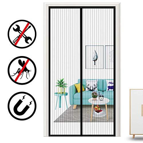 GOUDU Magnet Fliegengitter Balkontür, Magnetischer Fliegenvorhang Insektenschutz mit Heavy Duty Mesh, für Balkontür Wohnzimmer Terrassentür - Schwarz 95x205cm(37x81inch)