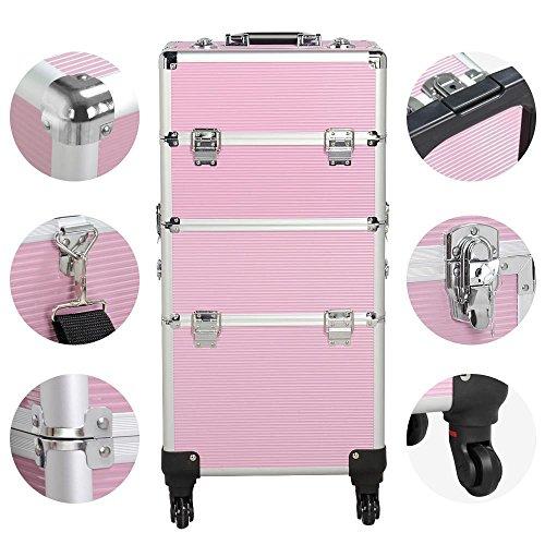 Yaheetech Kosmetikkoffer Pilotenkoffer Beauty Koffer Schminkkoffer Trolley Friseurkoffer, Koffer mit 3 Etagen, Trolley-System mit 4 rollen, 3 in 1 Pink