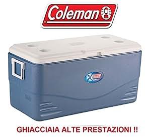 GHIACCIAIA 90 Litri Modello Xtreme 100 Blu Marchio Coleman - Mantiene Il Ghiaccio Fino A Sei Giorni - Dotata di Maniglie - VALVOLA di Scarico - Ideale per Pesca E Caccia