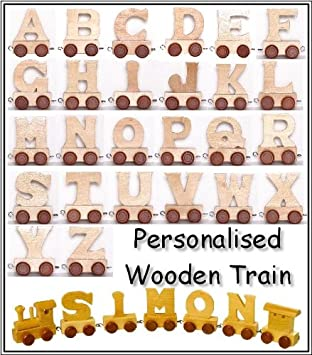 personalized wooden train alphabet letter 10 letters name amazoncouk kitchen home
