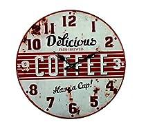 Idea Regalo - BAKAJI 79/3206 Orologio da Parete, Modello Delicious Coffee, Metallo, Multicolore, 41.2x5.5x40.8 cm