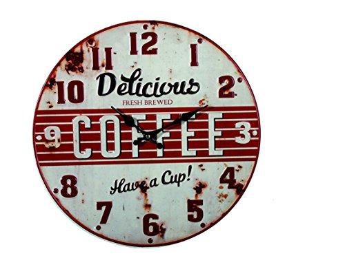 Bakaji orologio da parete in metallo stile vintage anni 50 con stampa in rilievo d.40cm
