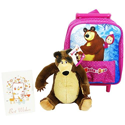 Masha e Orso con Bambola Orso Estraibile Zaino Trolley Asilo con Due Ruote