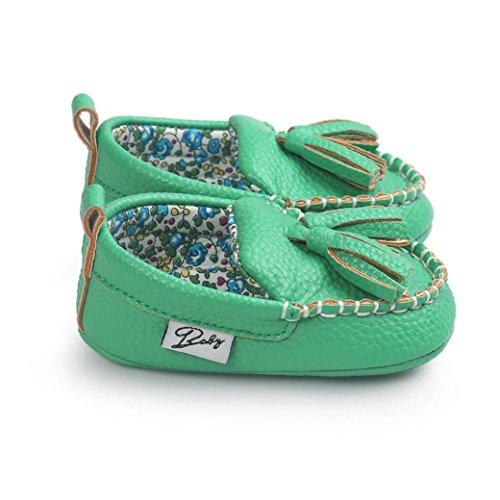 Saingace Krabbelschuhe Baby-Mädchen-Jungen-weiche alleinige lederne Schuhe weiche untere Schuhe flache Schuhe Grün
