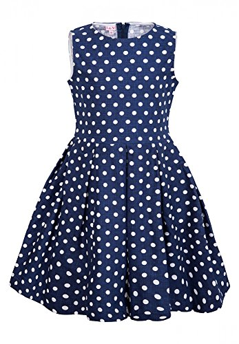 La-V Mädchenkleid Blau Gepunktet/Größe 128