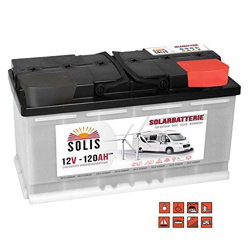 Preisvergleich Produktbild SOLIS Solarbatterie 12V 120Ah Boot Marine Wohnmobil Versorgung Verbraucher Batterie
