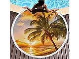 Gemütlich Sunshine Beach Coconut Muster Printed Runde Badetuch mit Quasten Super Wasser absorbierende Handtuch Soft Mikrofaser Decke (150x150cm) für Kleinkinder