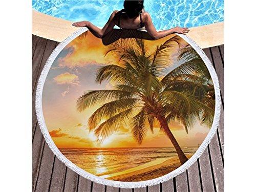Schlafzimmer Handtuch Sunshine Beach Coconut Muster Printed Runde Badetuch mit Quasten Super Wasser absorbierende Handtuch Soft Mikrofaser Decke (150x150cm) Komfortabler Waschlappen -