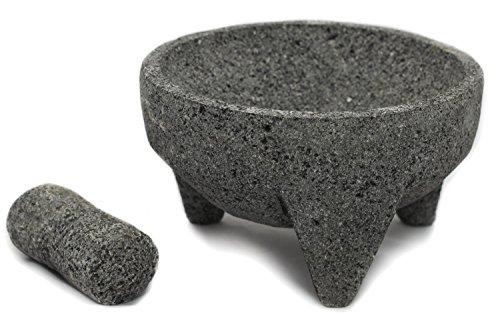 Tumia Mörser- und Stößel-Set, 21cm, mexikanisches Lavagestein, Molcajete, grau, 21 cm