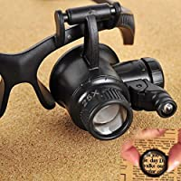 Tdmzon Double Eye Jewelry Watch Repair Magnifier Loupe Glasses with LED Light LED Double Loupe Glasses Watch Repair Magnifier