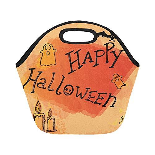 nch-Tasche Happy Halloween Doodles Große wiederverwendbare thermische dicke Lunch-Tragetaschen Für Lunch-Boxen Für draußen, Arbeit, Büro, Schule ()