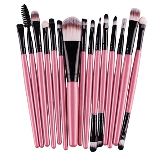 Tonsee 15 pièces / Set Eye Shadow Foundation Sourcils Lip Brush pinceaux de maquillage outils (Rose 3)