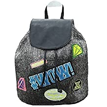 zaino donna ecopelle patch toppe applicazioni smile borsa bag smile backpack grigio