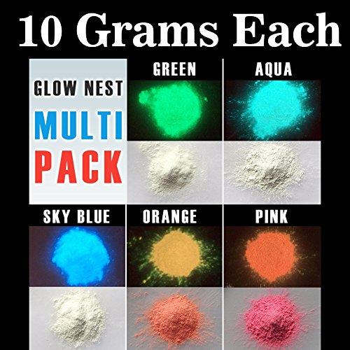 Multi Pack of 5 Glow in Dark Powder 10 gram each 50 grams