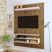 Artely Orion Wall Panel for 47 inch TV, Pine Brown with Off White, W 120 cm x D 28 cm x H 160 cm