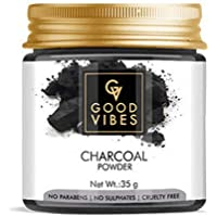 Good Vibes Charcoal Powder For Hair and Skin - 35 g - Charcoal Skin Mask and Hair Mask Powder - Powered with Vitamin A…