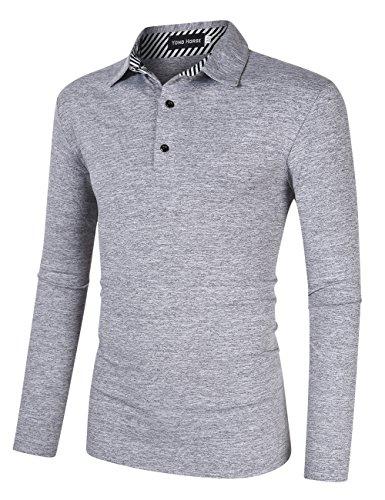 Yong Horse Herren casual dry fit golf polo shirts 2-knopf sport kurzarm polo-t-shirt mittel dunkelgrau lang -