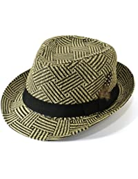 Straw paper trilby hat black and natural hatched with black band and feather