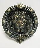 Aldaba para puerta (Hierro Fundido envejecido Diseño: cabeza de león lxan: 23,5x 22cm