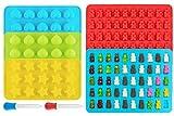 Ecoki Gummibärchen/Schokoladenform 5er Set aus Silikon, LFGB Zertifiziert BPA-frei Silikon Bonbons, Pralinenformen - Herz-, Stern- und Muscheln-Formen für Kinder