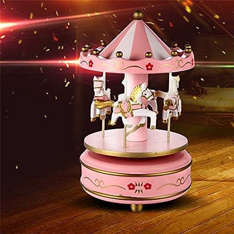 Lugii Cube en bois 4Cheval rotatif Carrousel figurine Boîte à musique anniversaire de Noël enfants de cadeaux jouet 1#, rose
