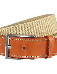 LINDENMANN Mens Textile Belt / Mens Belt, elastic textile belt with gift box, beige