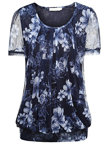 baishenggt-womens-ruched-front-mesh-casual-short-sleeve-stretchy-tunic-tops-t-shirt-blue-floral-x-la