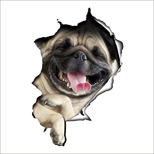Vinilo decorativo pegatina WC para el baño puerta, Pegatina Impermeable 3D decoracion,Etiqueta de La Pared PVC Adhesivo Decorativo Perros y Gatos para Inodoro,Refrigerador,Frigorífico (perro 01)