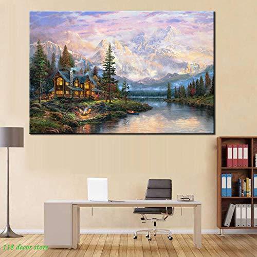Cathedral Mountain Lodge Von Thomas Kinkade, Abstrakte Landschaft Poster Drucken Auf Leinwand Wandkunst Bilder Für Wohnzimmer Dekor 50Cmx70Cm -