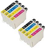 ZR-Printing Ersatz für Espon T0711 T0712 T0713 T0714 Druckerpatronen Hohe Kapazität Kompatibel mit für Epson Stylus SX105 SX210 SX218 SX400 DX4000 DX4400 DX6000 DX6050 DX8450 BX300F (2 schwarz, 2gelb, 2cyan, 2magenta)