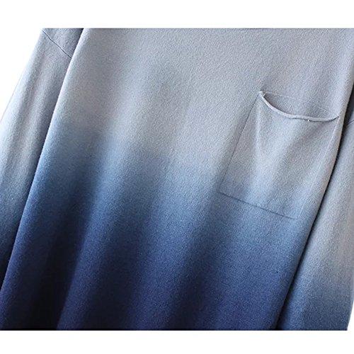 Urban GoCo Femmes T-shirt Chemises Longues Manches Basique Simple Tee Souple Pull Bleu # 1