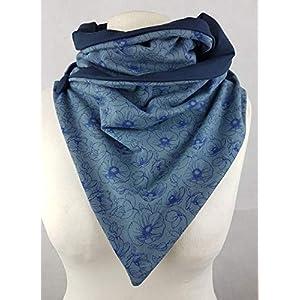 Loop Blumen blau grau Jersey