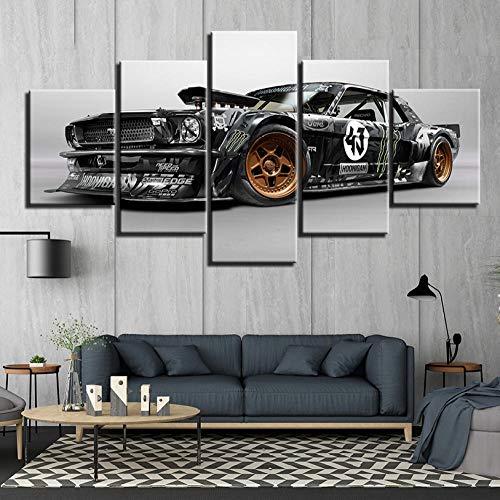 hdmfl HD Druck 5 Panel Ford Mustang Auto Leinwand Malerei Wandkunst Racing 5 Stück Dekorrahmen (Racing Hat Ford)