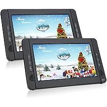 Pumpkin CH1014B - Reproductor de DVD CD MP3 Vídeo Multimedia Portátil ( 10.1 Pulgadas, 2700 mAh Batería Interna, USB, SD) con 2 Pantallas, Cargador de Coche y Soporte para Resposacabezas, Negro